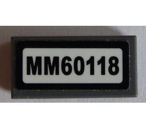 """LEGO Tile 1 x 2 with """"MM60118"""" Sticker with Groove (3069)"""
