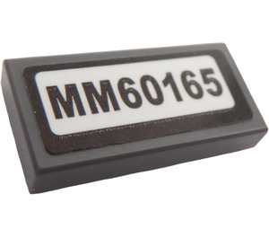 "LEGO Tile 1 x 2 with ""MM60165"" Sticker with Groove (3069)"