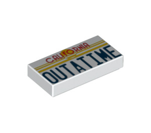 LEGO Tile 1 x 2 with 'OUTATIME' Decoration with Groove (3069 / 15510)