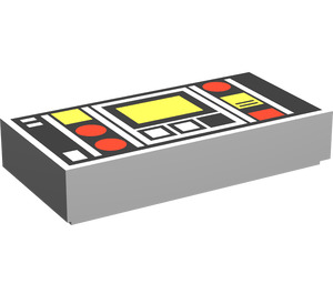 LEGO Tile 1 x 2 with Red & Yellow Controls with Groove (3069)