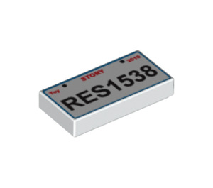 LEGO Tile 1 x 2 with 'RES1538' License Plate Decoration with Groove (3069 / 90855)