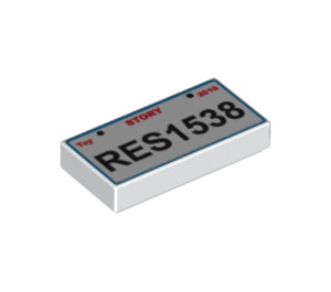 LEGO Tile 1 x 2 with 'RES1538' License Plate Decoration with Groove (90855)
