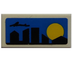 LEGO Tile 1 x 2 with  Skyline and Blue Backgound Sticker from Set 8404 (3069)