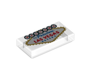 """LEGO Tile 1 x 2 with """"Welcome to fabulous Las Vegas Nevada"""" with Groove (3069 / 37064)"""