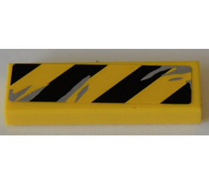 LEGO Tile 1 x 3 with black and yellow danger lines and scratch marks Sticker (37294)