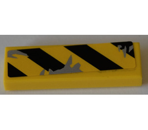 LEGO Tile 1 x 3 with black and yellow danger lines and scuff marks Sticker (37294)