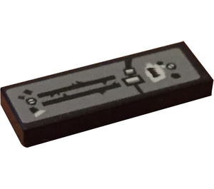 LEGO Tile 1 x 3 with Black Lines and Black Fang Sticker (63864)