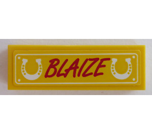 LEGO Tile 1 x 3 with 'BLAIZE' and horseshoes Sticker (37294)
