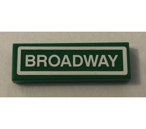 LEGO Tile 1 x 3 with Broadway Street Sign Sticker (37294)