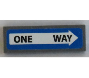 LEGO Tile 1 x 3 with 'ONE WAY' in White Arrow Sticker (37294)