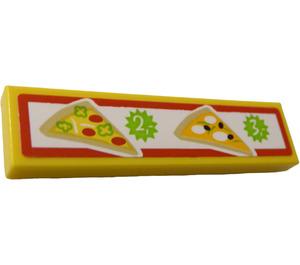"""LEGO Fliese 1 x 4 mit 2 Slices of Pizza und Prices """"2"""" und """"3"""" Aufkleber (2431)"""