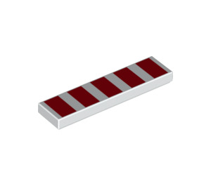 LEGO Tile 1 x 4 with 5 Red Wide Stripes (2431 / 47216)