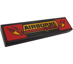 "LEGO Tile 1 x 4 with ""AIRBORNE Spoilers"" and Flames Sticker (2431)"