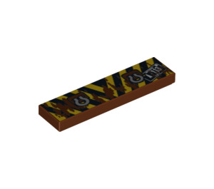 LEGO Tile 1 x 4 with Black & Yellow Stripes and Tow Rings Decoration (94859)