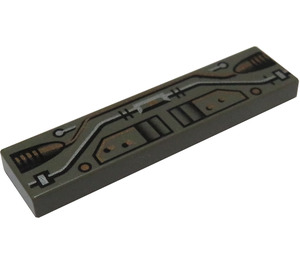 LEGO Tile 1 x 4 with Copper, Silver and Black Circuitry Decoration (2431)