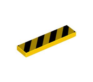 LEGO Tile 1 x 4 with Danger Stripes Black (83489)