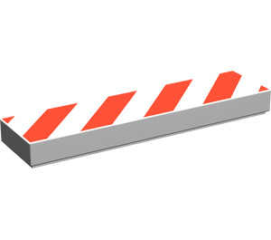 LEGO Tile 1 x 4 with Danger Stripes Red (2431)