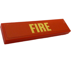 """LEGO Tile 1 x 4 with """"FIRE"""" Sticker (2431)"""