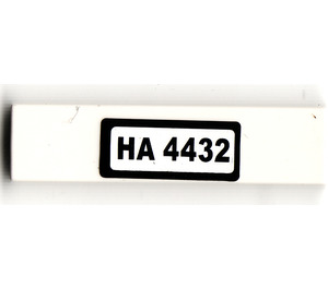 "LEGO Tile 1 x 4 with ""HA 4432"" Sticker (2431 / 91143)"