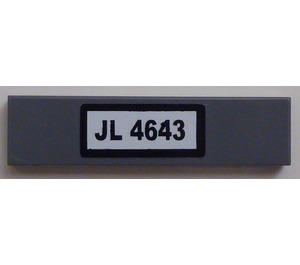 """LEGO Tile 1 x 4 with """"JL 4643"""" Sticker (2431)"""