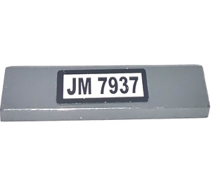 "LEGO Tile 1 x 4 with ""JM 7937""  Sticker (2431)"