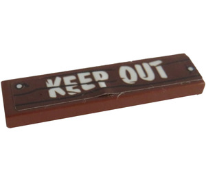 LEGO Tile 1 x 4 with 'KEEP OUT' on wooden nailed sign Sticker (2431)