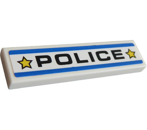 """LEGO Tile 1 x 4 with """"POLICE"""" Sticker (2431)"""