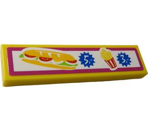 """LEGO Fliese 1 x 4 mit Sandwich und Fries und Prices """"5"""" und """"3"""" Aufkleber (2431)"""
