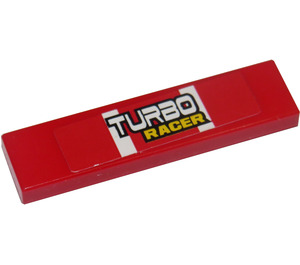 """LEGO Tile 1 x 4 with """"TURBO RACER"""" Sticker (2431 / 91143)"""