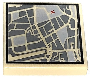 LEGO Tile 2 x 2 Street View Map with Red 'X' Decoration with Groove (3068 / 13462)