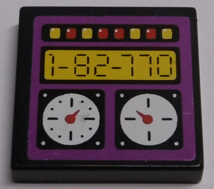 LEGO Tile 2 x 2 with '1-82-770', Gauges, Red and Yellow Buttons Sticker with Groove (3068)