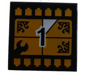 """LEGO Tile 2 x 2 with """"1"""" with Groove (3068)"""