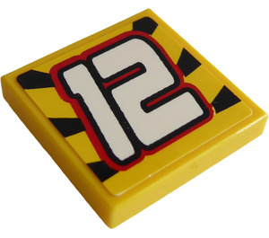 """LEGO Tile 2 x 2 with """"12"""" Sticker with Groove (3068)"""