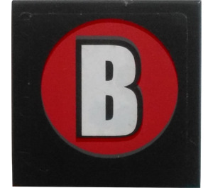 """LEGO Tile 2 x 2 with """"B"""" in Round Red Sticker with Groove (3068)"""