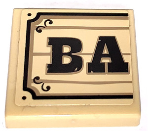 """LEGO Tile 2 x 2 with """"BA"""" on Wood Effect Sticker with Groove (3068)"""