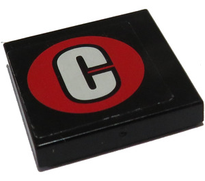 """LEGO Tile 2 x 2 with """"C"""" in Round Red Sticker with Groove (3068)"""