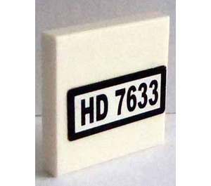 """LEGO Tile 2 x 2 with """"HD 7633"""" Sticker with Groove (3068)"""