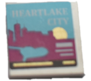 """LEGO Tile 2 x 2 with """"HEARTLAKE  CITY"""" From set 41106 Sticker with Groove (3068)"""