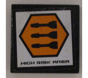 """LEGO Tile 2 x 2 with """"High Risk Area"""" and 3 Missiles Sticker with Groove (3068)"""