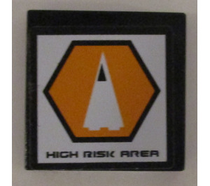 """LEGO Tile 2 x 2 with """"High Risk Area"""" and Triangle-in-Hexagon Sticker with Groove (3068)"""
