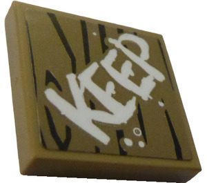"""LEGO Tile 2 x 2 with """"KEEP"""" Sticker with Groove (3068)"""