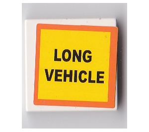 """LEGO Tile 2 x 2 with """"LONG VEHICLE"""" Sticker with Groove (3068)"""