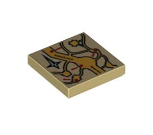 LEGO Tile 2 x 2 with  Marauder's Map Decoration with Groove (3068 / 92443)