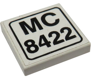 """LEGO Tile 2 x 2 with """"MC 8422"""" Sticker with Groove (3068)"""