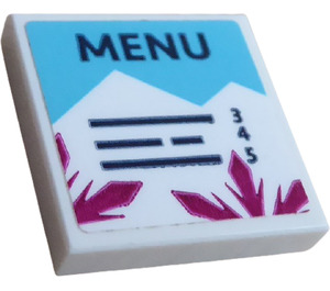 """LEGO Tile 2 x 2 with """"MENU"""" Sticker with Groove (3068)"""