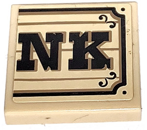 """LEGO Tile 2 x 2 with """"NK"""" on Wood Effect Sticker with Groove (3068)"""