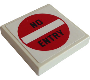"""LEGO Tile 2 x 2 with '""""NO ENTRY"""" Sign Sticker with Groove (3068)"""