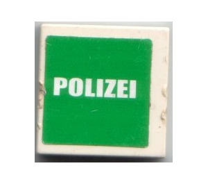 """LEGO Tile 2 x 2 with """"POLIZEI"""" Sticker with Groove (3068)"""