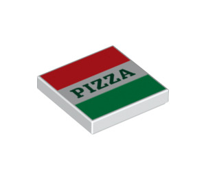 LEGO Tile 2 x 2 with Red and Green Stripes and Pizza with Groove (3068 / 29716)