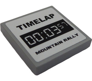 """LEGO Tile 2 x 2 with """"TIMELAP 00:03:57 MOUNTAIN RALLY"""" Sticker with Groove (3068)"""